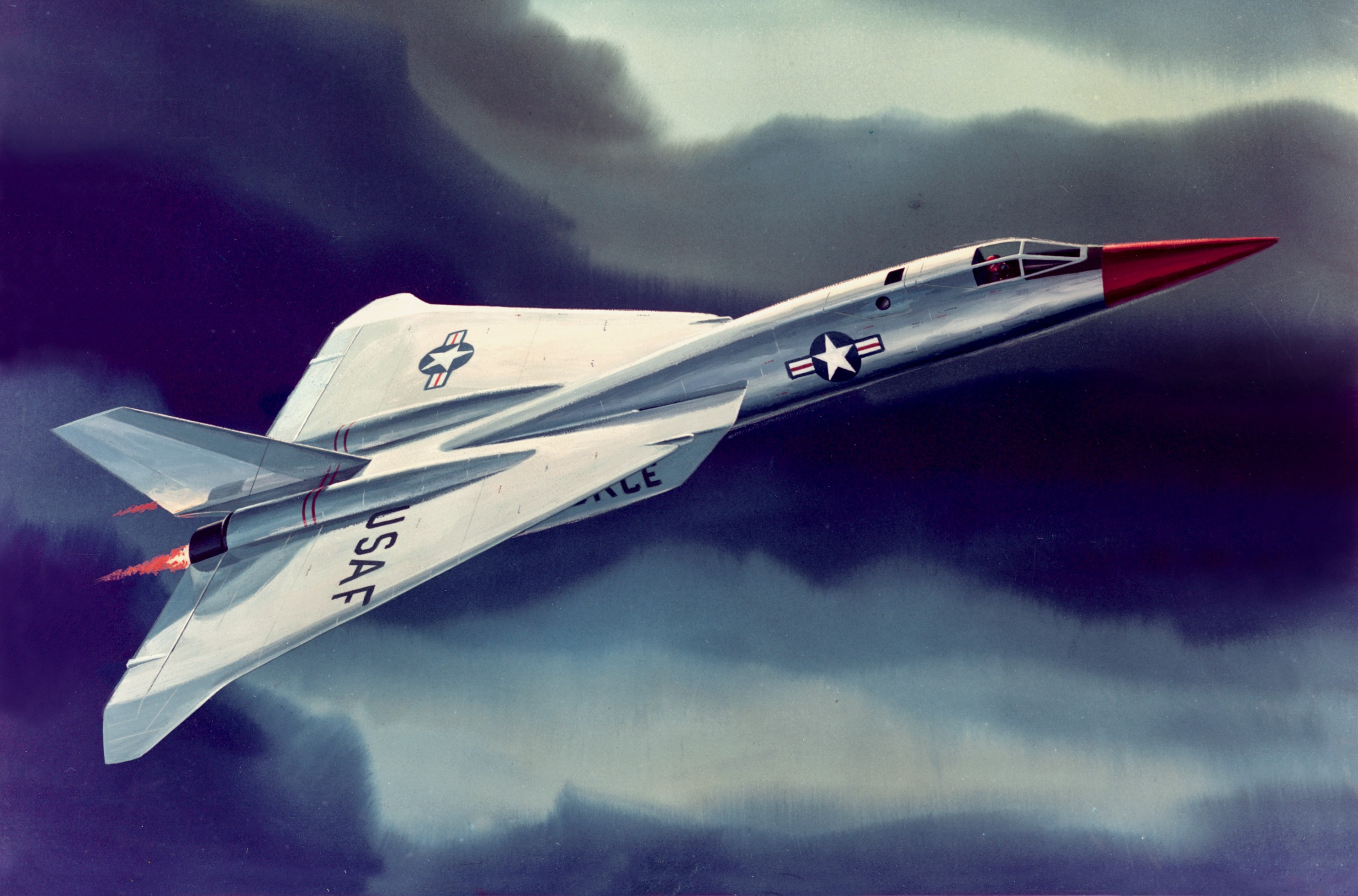 The North American F-108A Rapier would be powered by two General Electric J93 engines similar to those used in the XB-70 bomber. (National Archives, St. Louis)