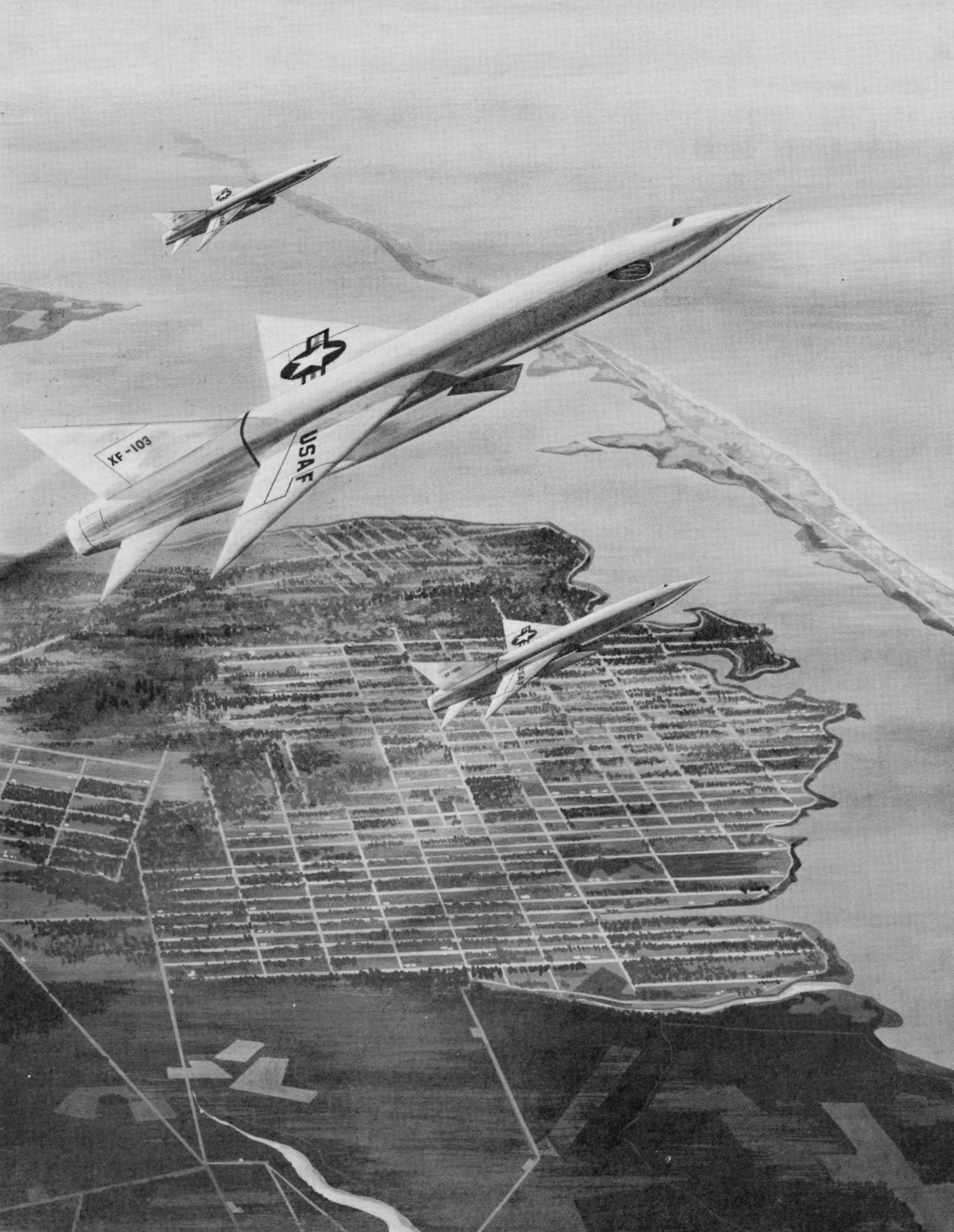 Artist concept of three Republic F-103 aircraft departing their base to perform an intercept mission off of the United States coast. (National Archives, St. Louis)