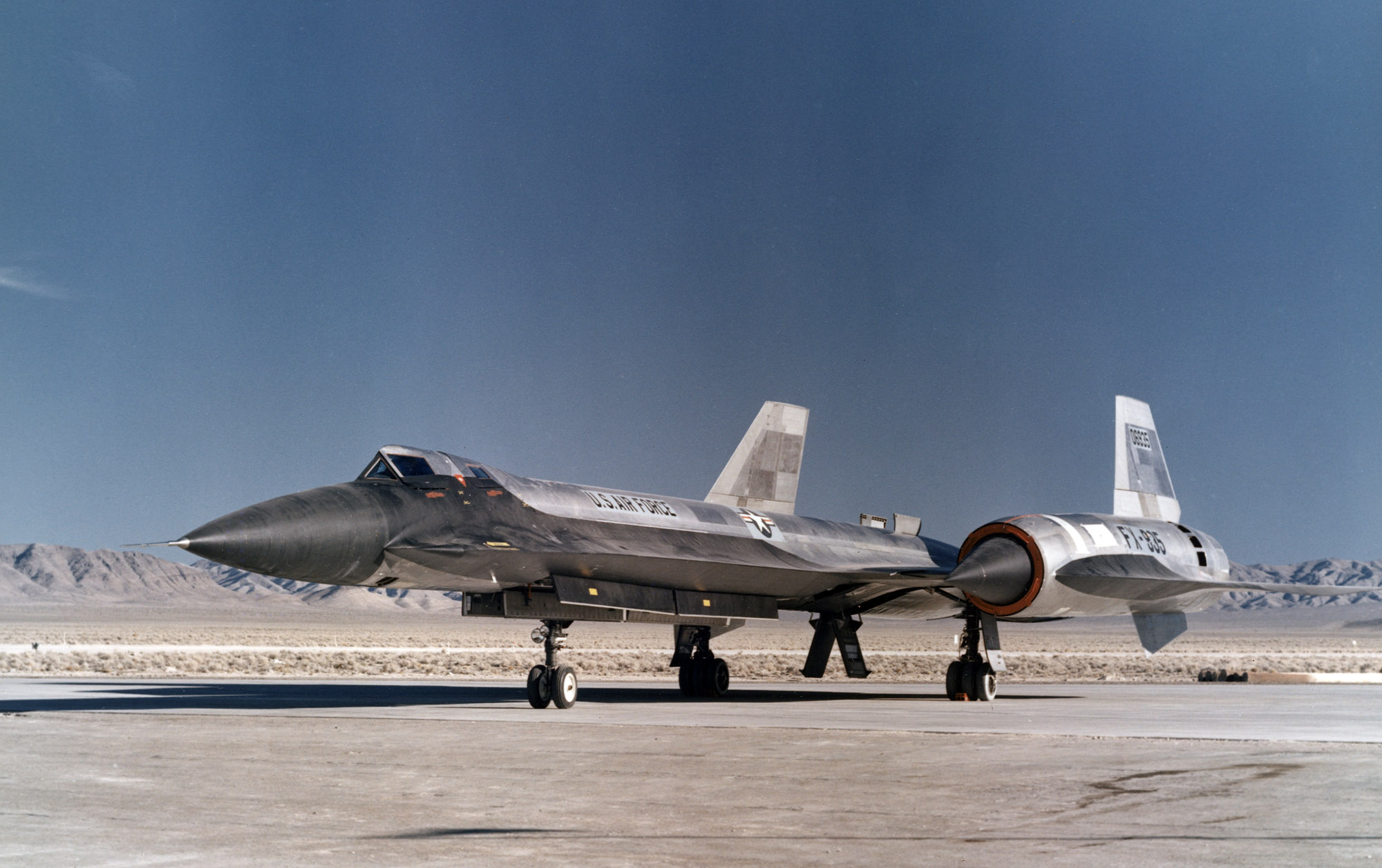 The second of three Lockheed YF-12A's parked on the ramp after a recent test mission.